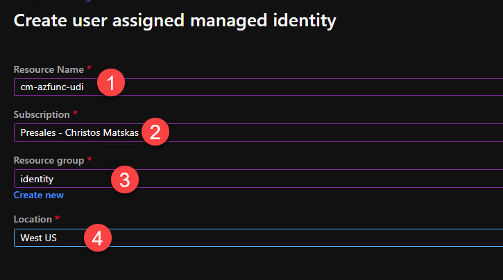Managed Identity settings