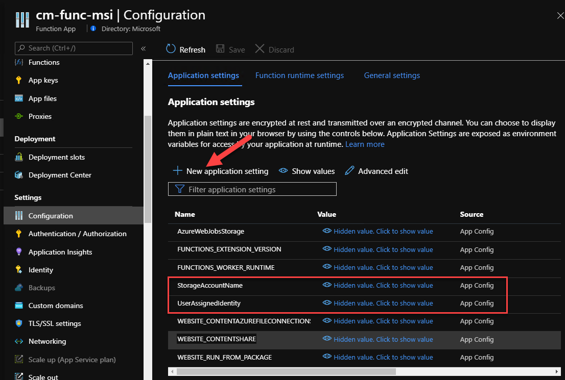 Azure Functions app settings