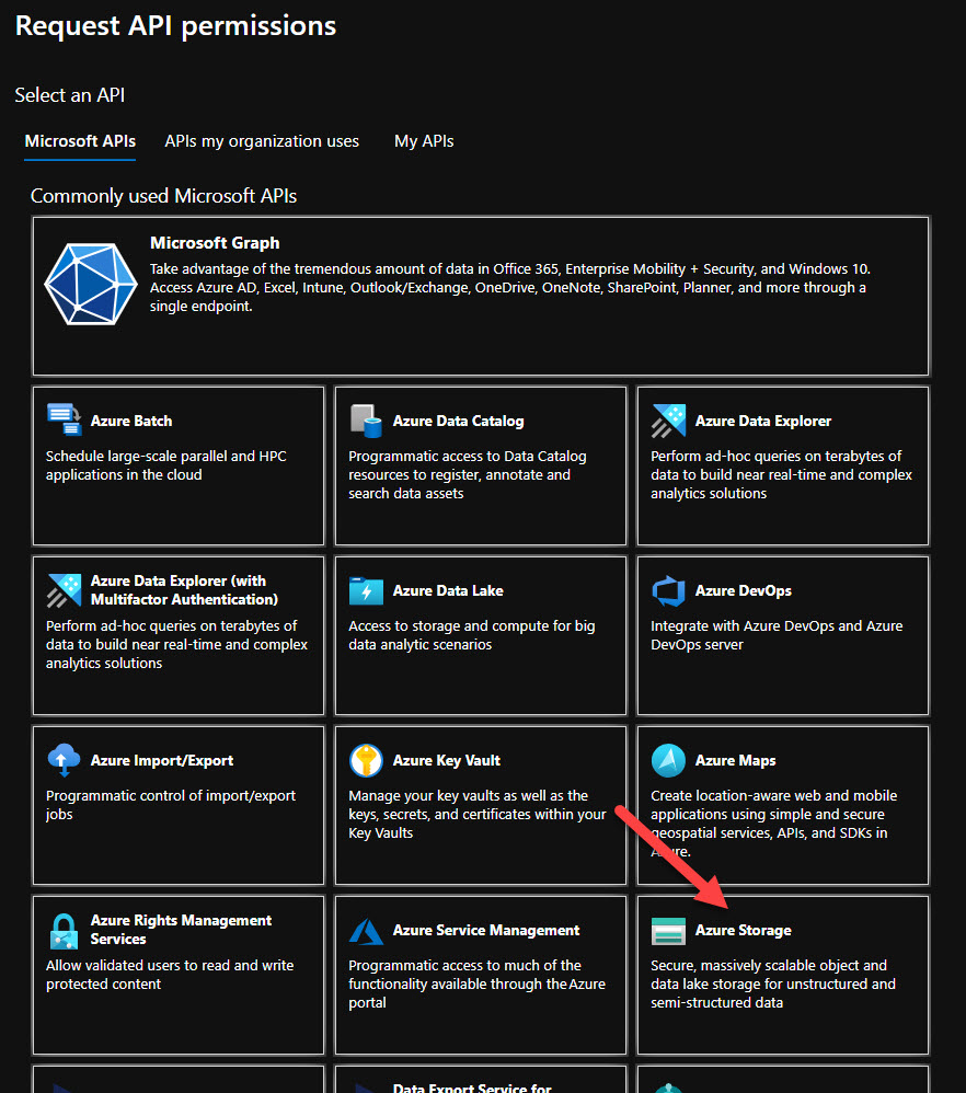 Select Azure Storage in APIs