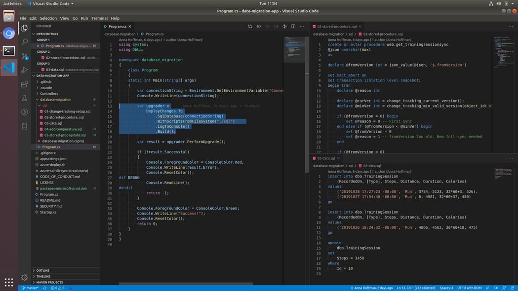 DbUp migration in Visual Studio Code