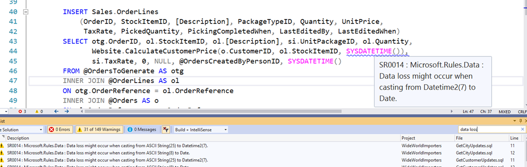 T-SQL Code Analysis output in SSDT