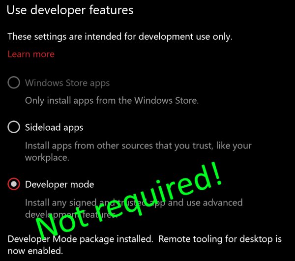 Developer Mode no longer required for Windows Subsystem for Linux