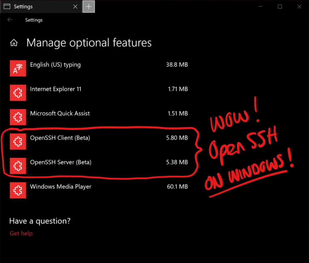 OpenSSH in Windows 10!