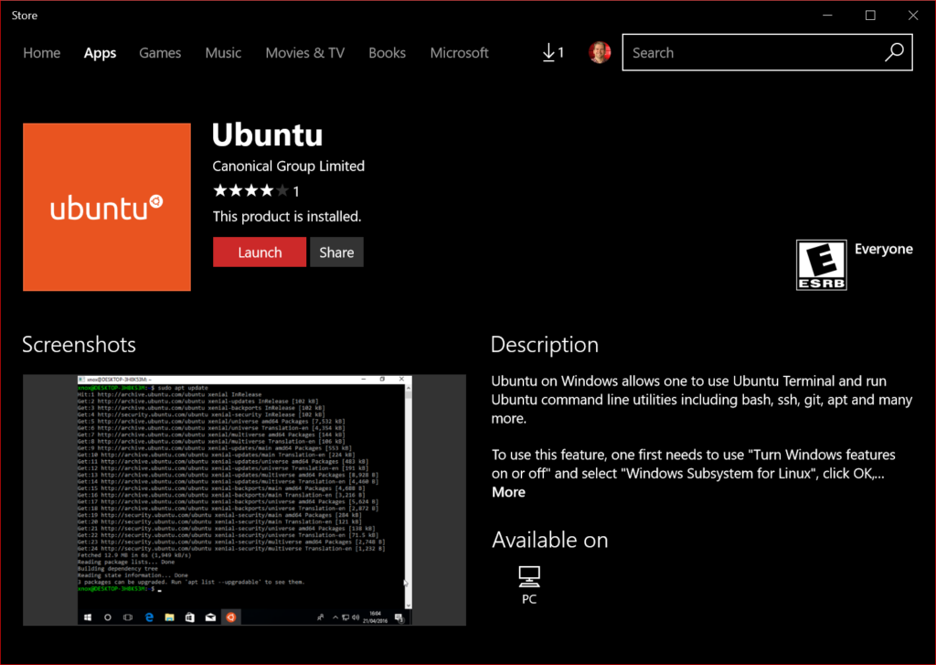 Ubuntu now available from the Windows Store!