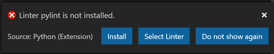 VSCode dialogue showing that Pylint is not installed