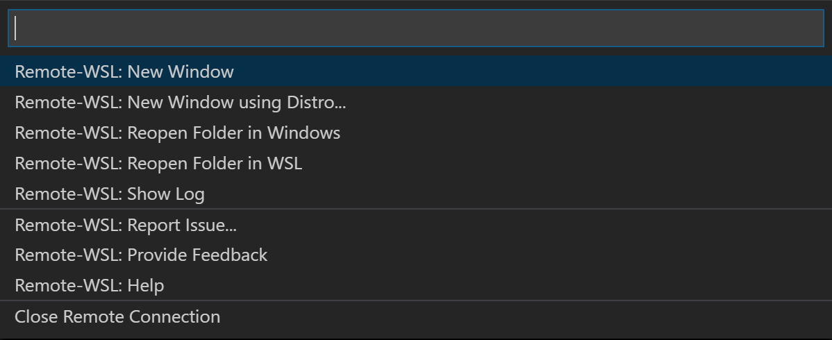 The VSCode editor showing the Remote WSL Commands available