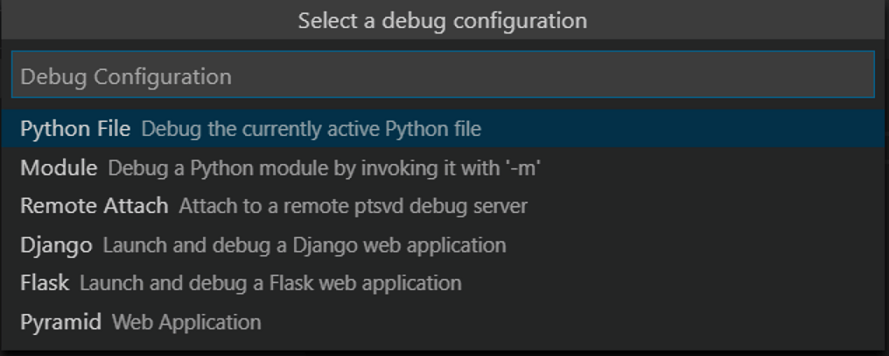 Selecting the debug configuration in the VSCode IDE
