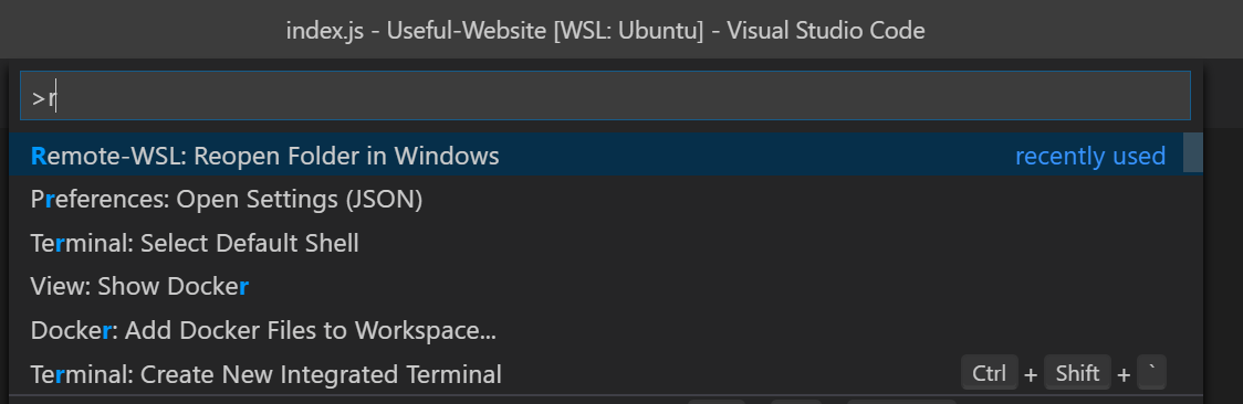 reopen folder in Windows command in VSCode