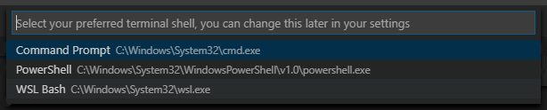 Selecting your default Windows shell in VSCode