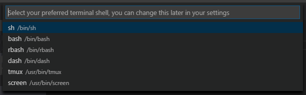 Selecting your default WSL shell in VS Code