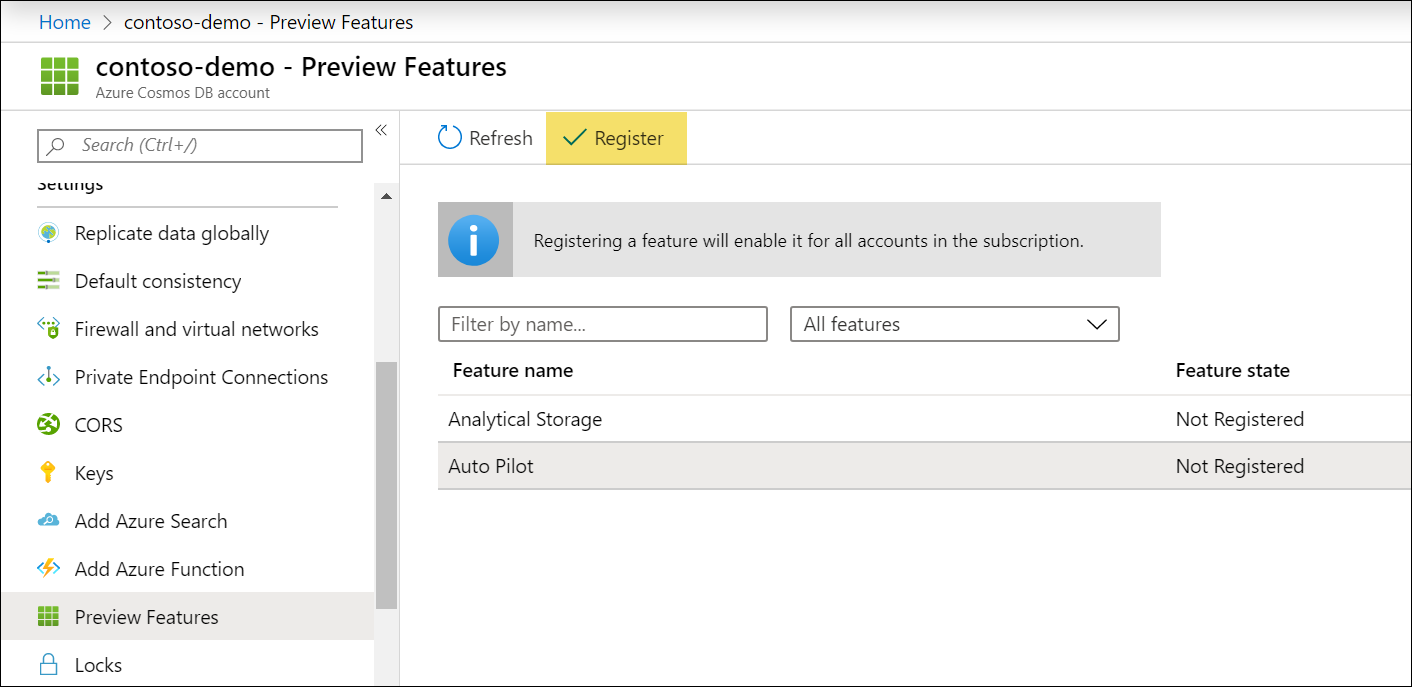 Enable autopilot preview feature in Preview Features blade