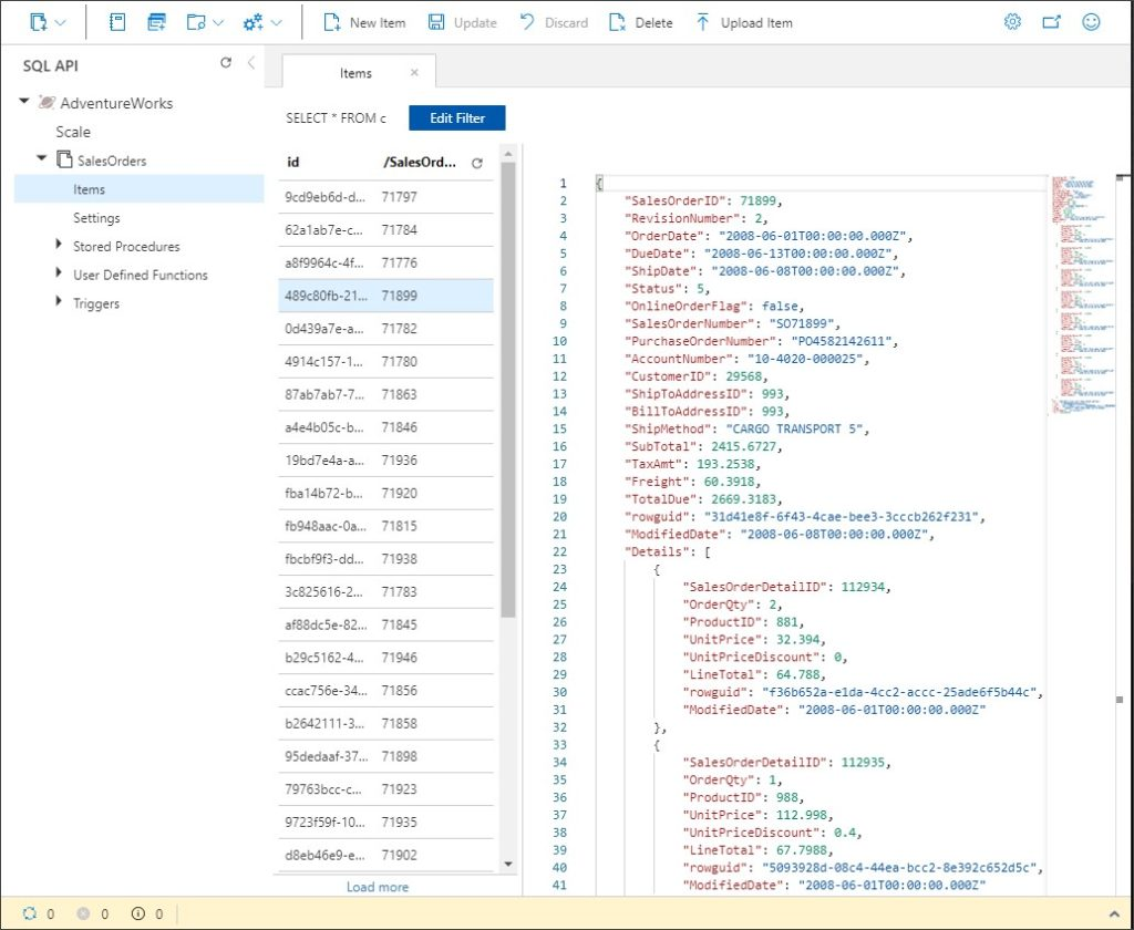 Order Header and Order Detail As Combined Document in Cosmos DB