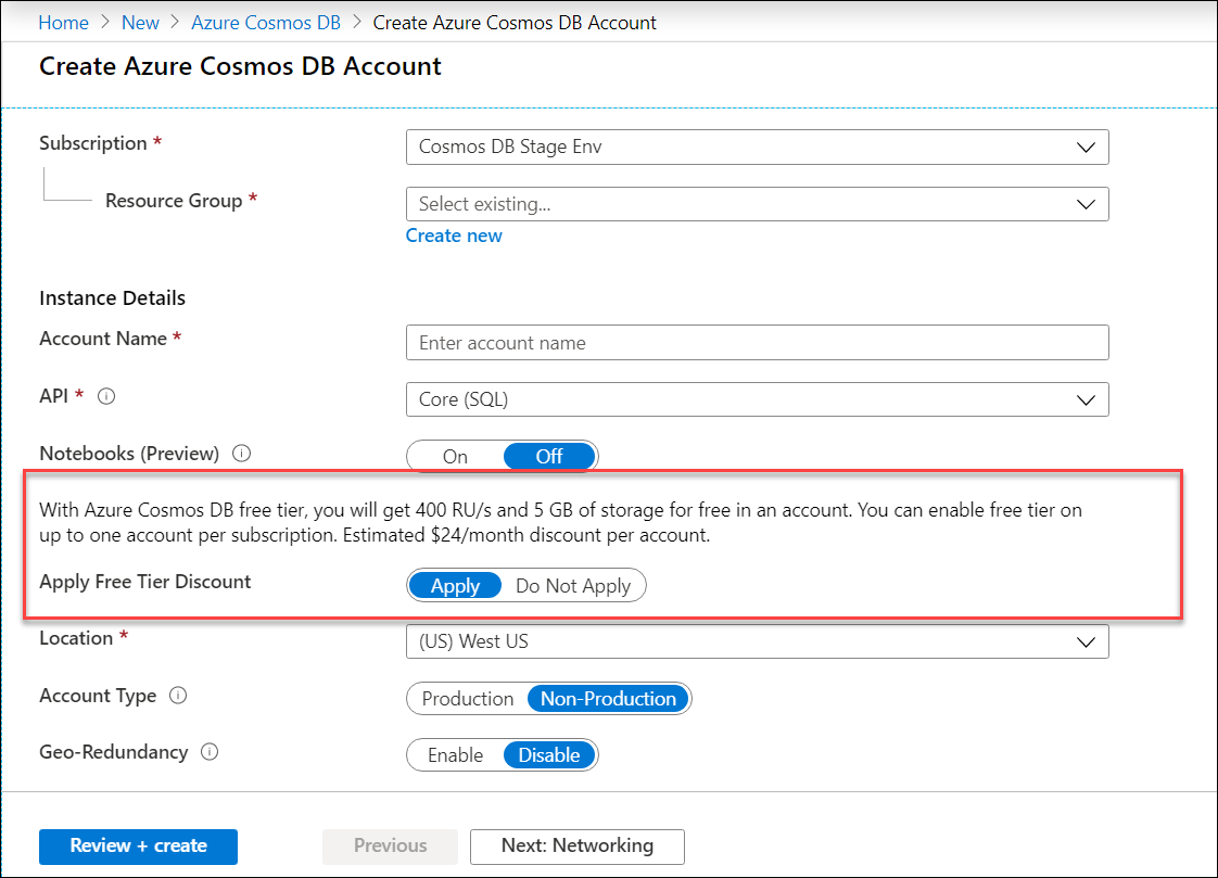 Enable free tier discount when creating a new Azure Cosmos DB account in the Portal