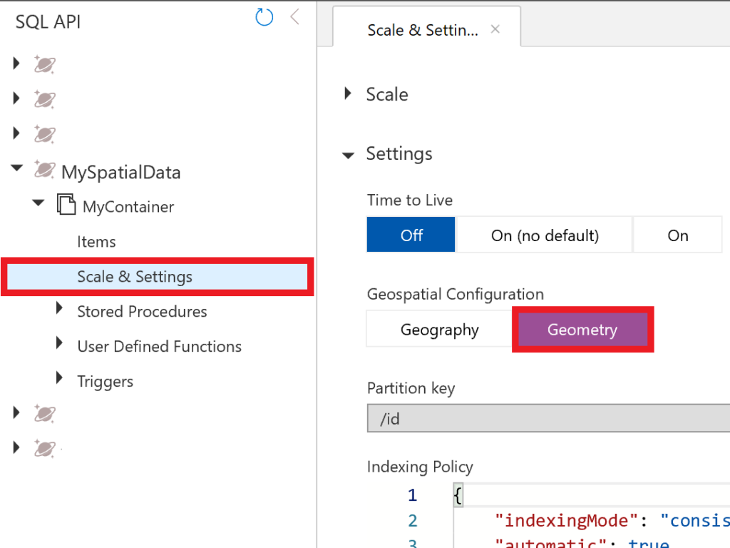 Using spatial geometry data in Azure Cosmos DB