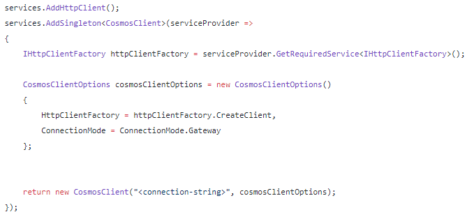 HttpClientFactory in the Azure Cosmos DB .NET SDK