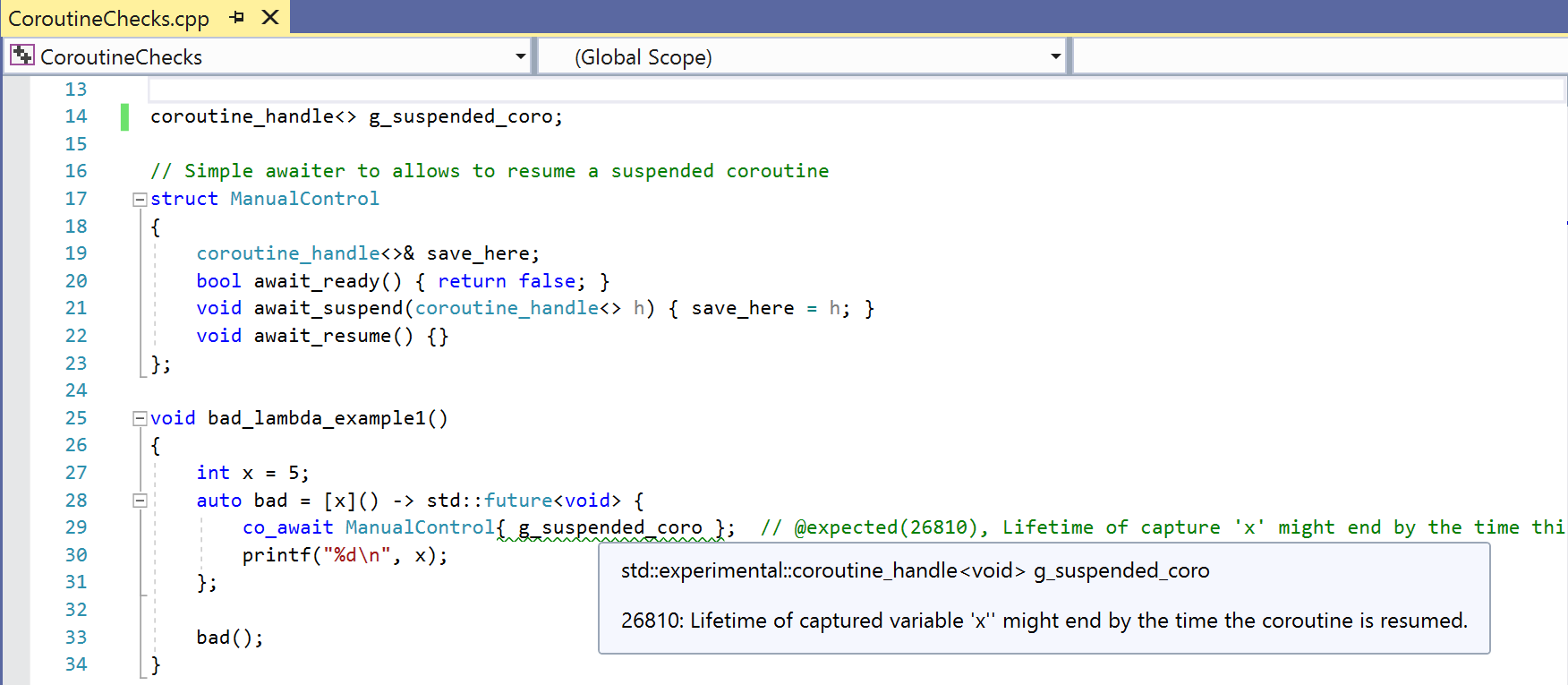 Screenshot showing a warning that the lifetime of a captured variable might end before a coroutine is resumed.