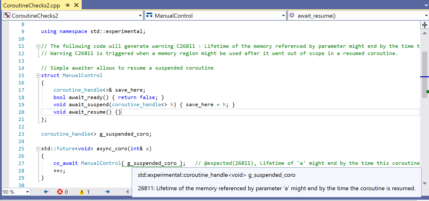 Screenshot showing a warning that the lifetime of a variable might end before the coroutine is resumed.