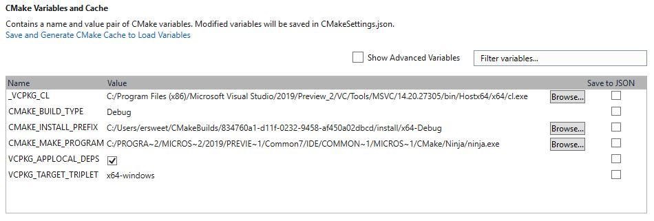 The CMake Variables and Cache section provides a new way for you to edit CMake variables.