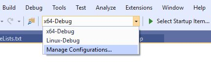 "Open the CMake Project Settings Editor by selecting ""Manage Connections..."" from the configuration drop-down menu at the top of the screen."