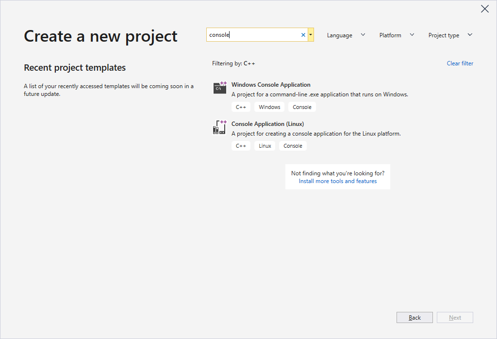 Create a new project in Visual Studio 2019