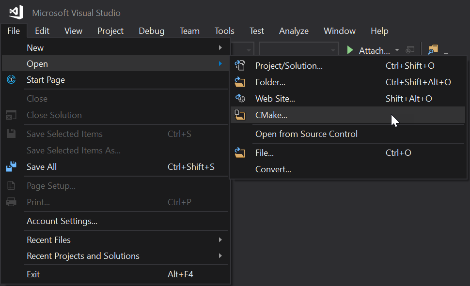 Visual Studio menu for File > Open > CMake