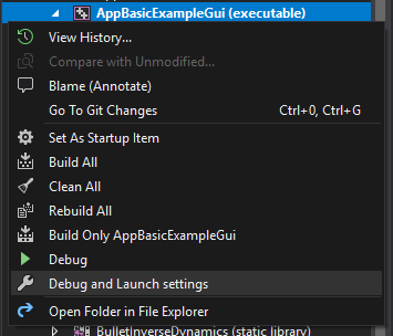 Debug and Launch Settings context menu