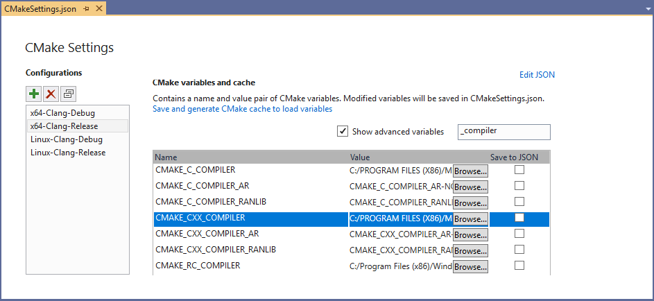 "Set ""CMAKE_C/CXX_COMPILER"" variables with the CMake Settings editor to use a custom Clang installation."