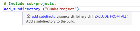 In-Editor Documentation for CMake in Visual Studio