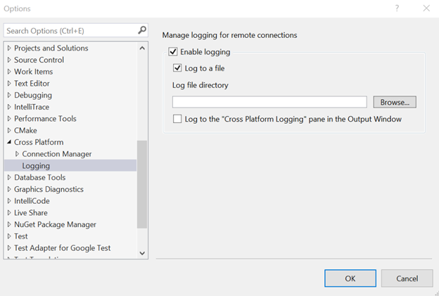 Remote connection logging settings under Tools > Options > Cross Platform.