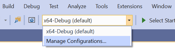 "A drop-down menu in Visual Studio with the option to ""Manage Configurations..."" selected."