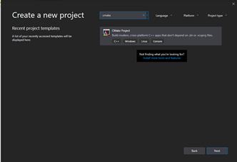 Create new CMake project dialogue box