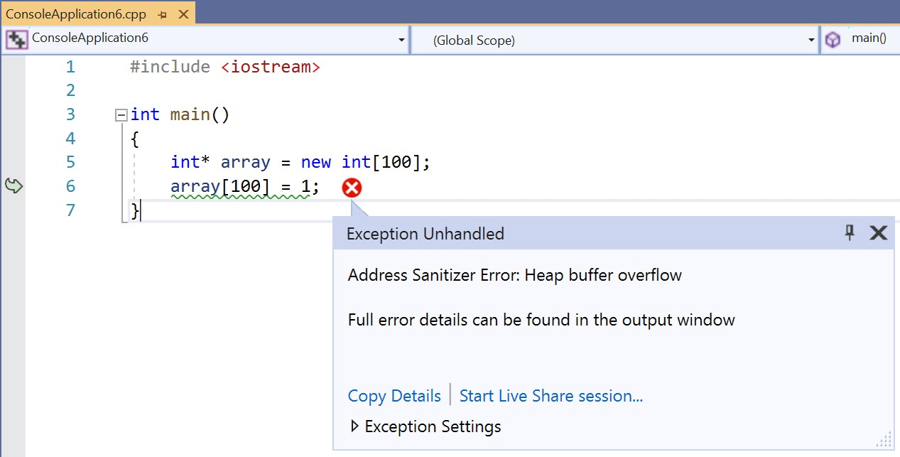 ASan Exception in Visual Studio