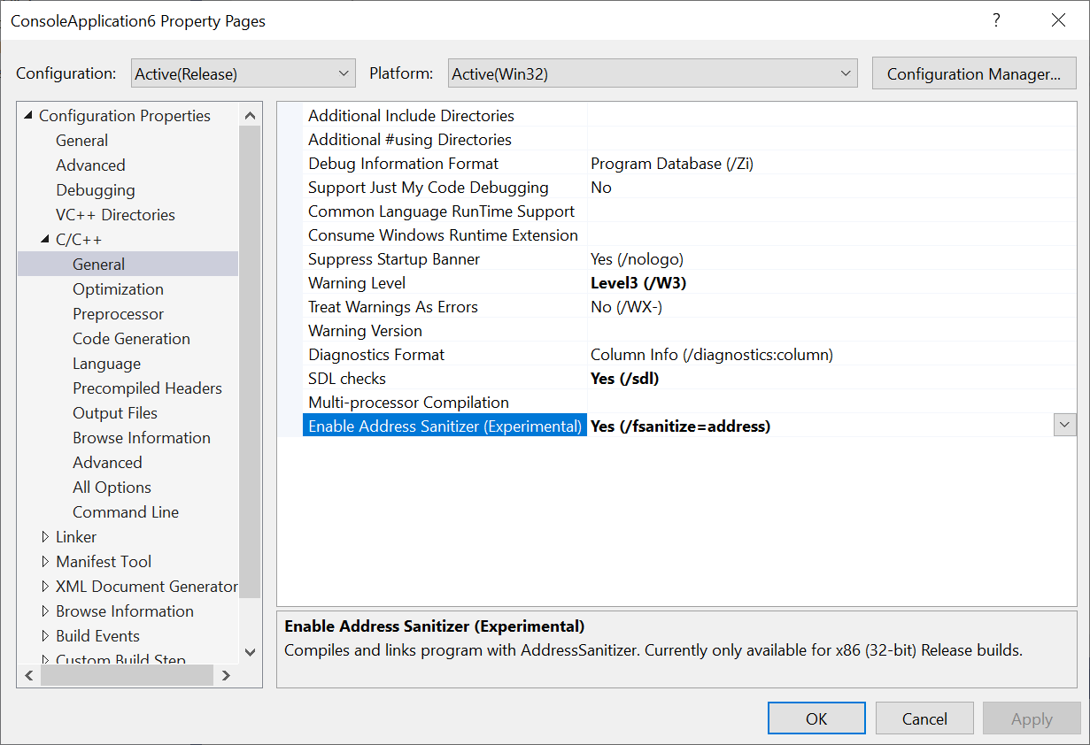 AddressSanitizer (ASan) for Windows with MSVC | C++ Team Blog