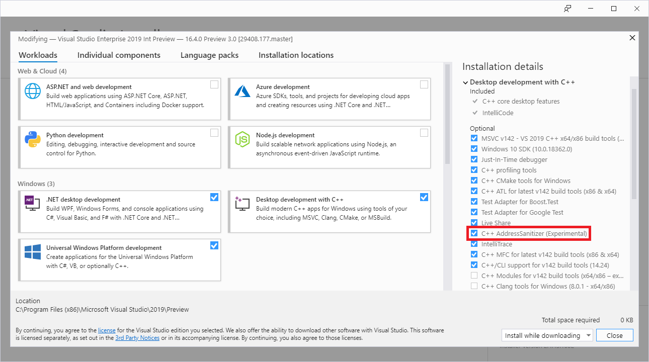 Visual Studio Installer with ASan checkbox