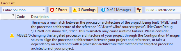 """Warning MSB3270 There was a mismatch between the processor architecture of the project being built ""MSIL"" and the processor architecture of the reference…"""