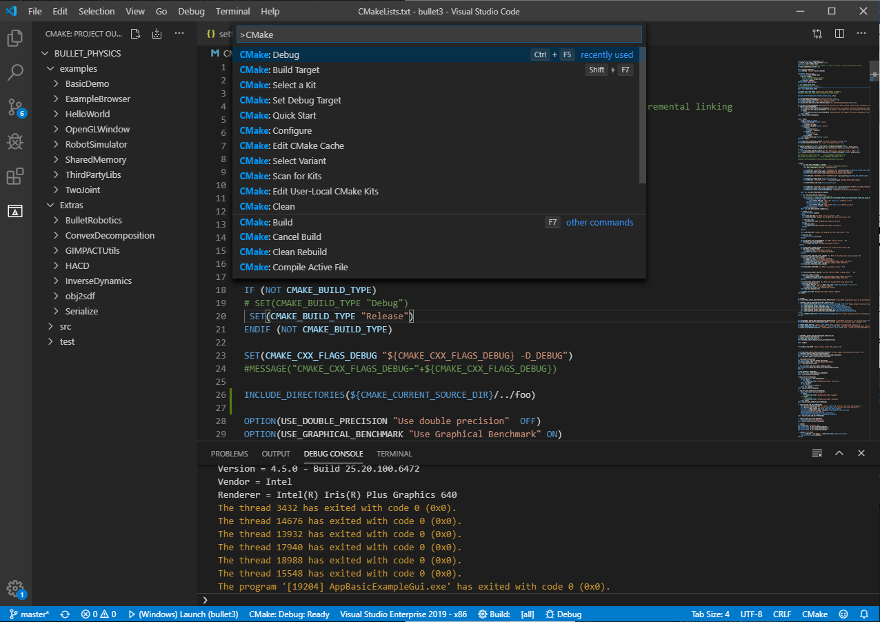 An image of the CMake Tools extension for VS Code, with a project outline to the left and several CMake-specific commands in the command palette.