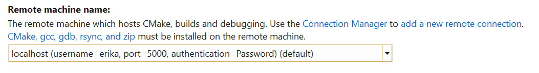 Remote machine name property in the CMake Settings Editor showing the local docker container I am connected to