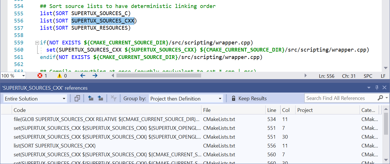 Find All References working across a CMake project.