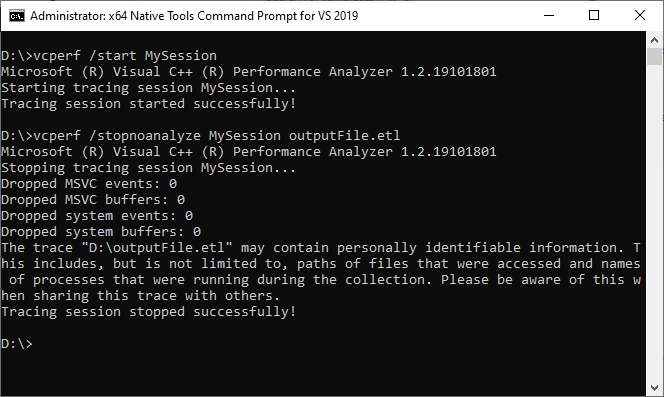 Capturing a trace with vcperf. Use the /stopnoanalyze command to obtain a trace that is compatible with the C++ Build Insights SDK.