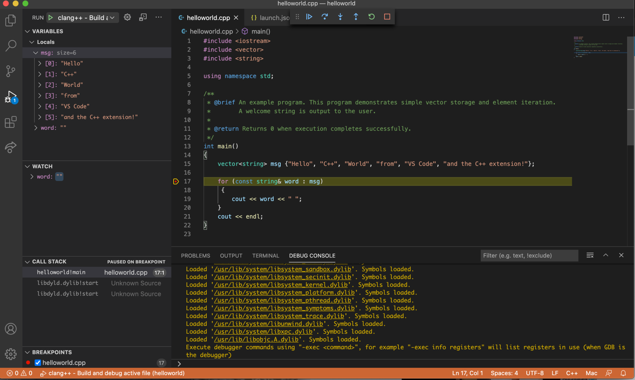 Screenshot showing C++ debug session in VS Code