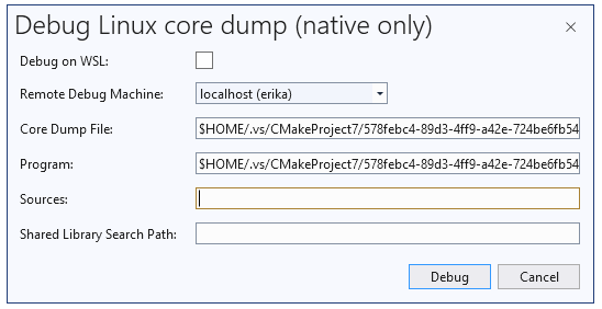 """A screenshot of the dialog that opens when """"Debug Linux Core Dump with Native Only..."""" is selected."""