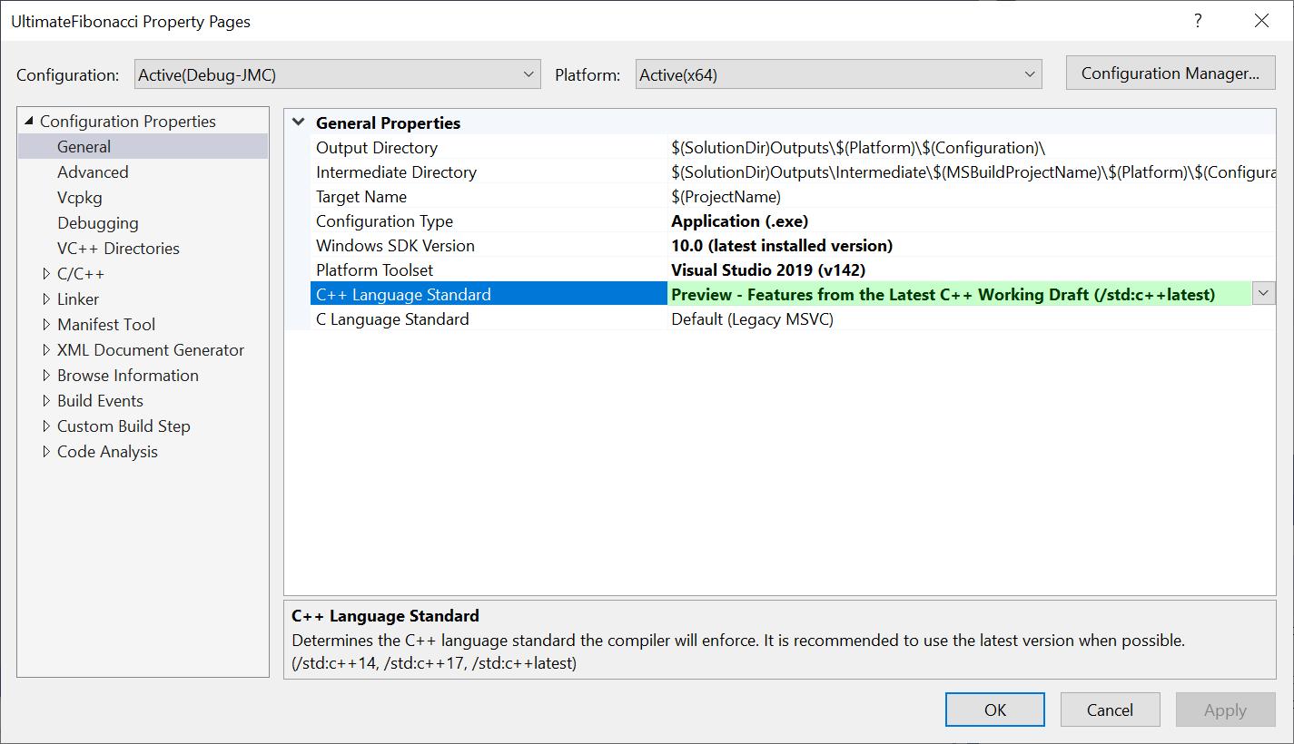 "General > C++ Language Standard, set to ""Preview /std:c++latest"""