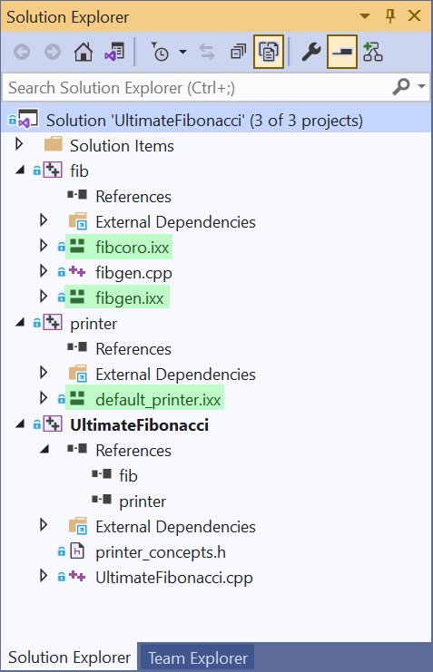 Solution Explorer with three module interfaces