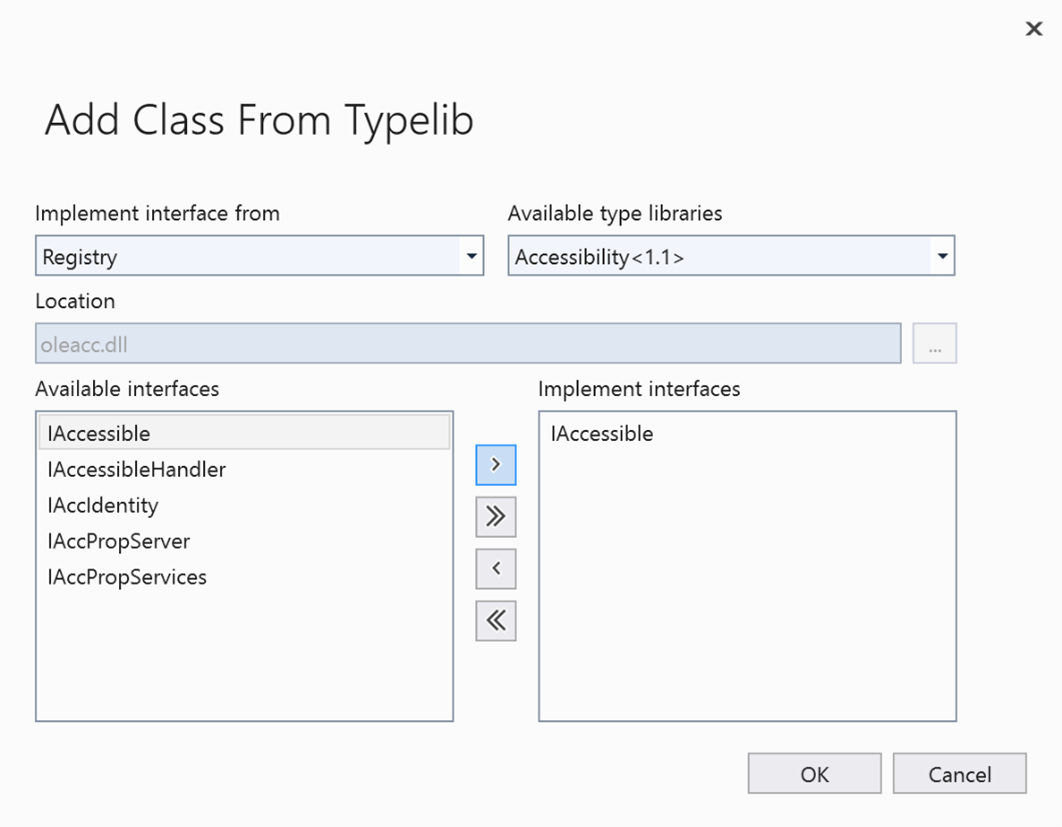 Adding a class from Typelib