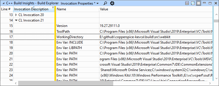 A screenshot of the Build Explorer view in WPA, configured with the Invocation Properties preset. A table shows a list of properties for CL invocation 21. The WorkingDirectory property is highlighted.
