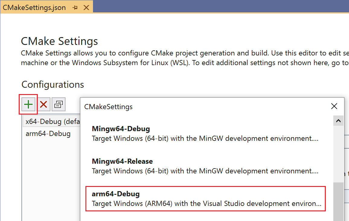 """The dialog to add a new configuration to the CMake Settings Editor in Visual Studio is open. The new template of type """"arm64-Debug"""" is highlighted."""