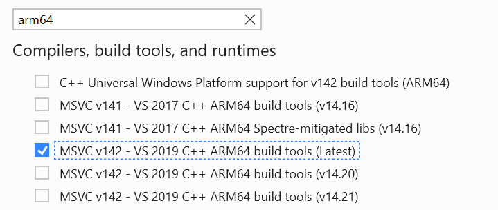 """The Visual Studio Installer is open. The individual component """"ARM64 build tools (latest)"""" is selected for installation."""