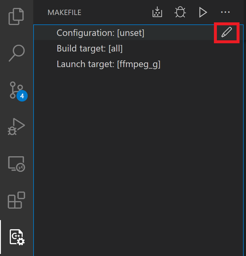 "Image showing the ""edit Configuration"" button that appears on hover in the Makefile Tools UI pane"