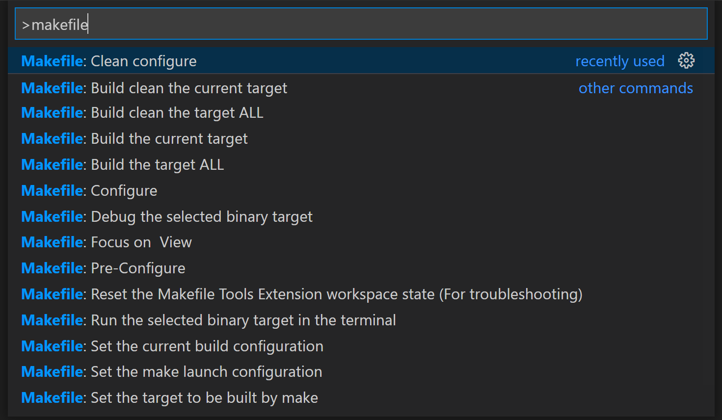 "Image showing the Makefile Tools extensions commands in the Command Palette, all beginning with ""makefile:"""