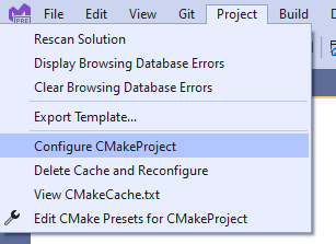 """An image of the Project menu in Visual Studio. """"Configure CMakeProject"""" is selected."""